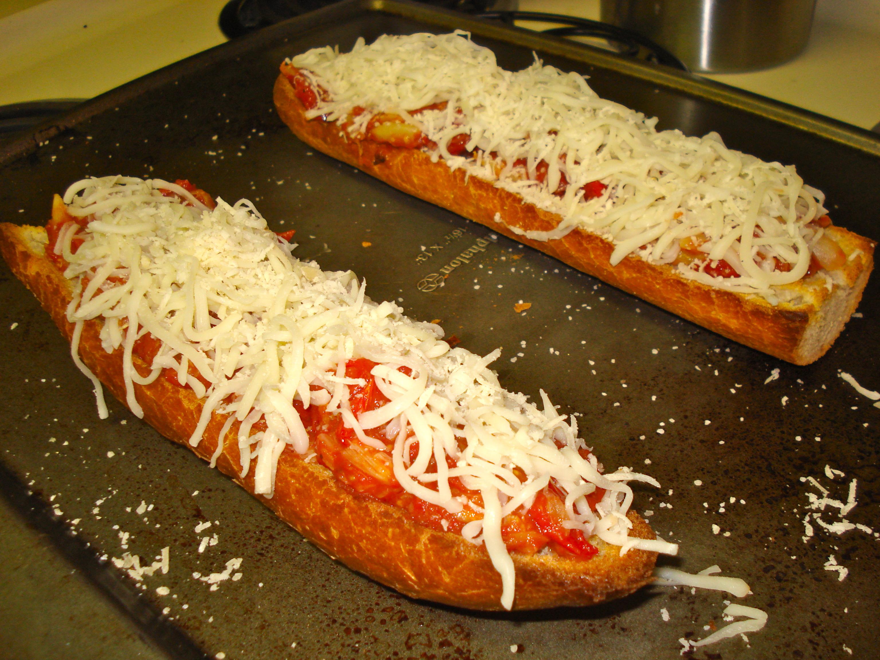 Pre-ovened pizzas.