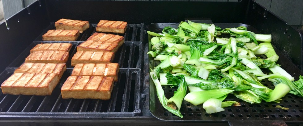 Simplest Grilled Tofu and Grilled Bok Choy