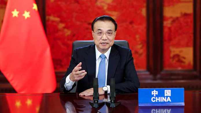 Chinese Premier Li Keqiang addresses the opening ceremony of the 7th World Conservation Congress via video conference