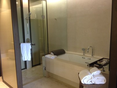 Large marble bathroom with separate rainshower and bathtub.