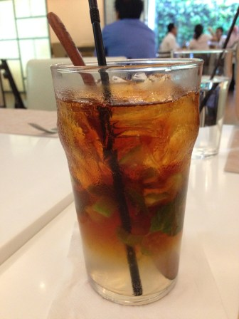 Lemongrass drink with lime bits (IDR 29K).