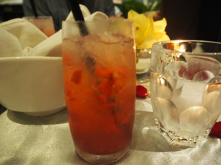 Really nice can't-remember-the-name mocktail with real strawberry bits.