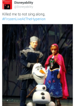 Click here to see clips of Frozen live at the Hyperion