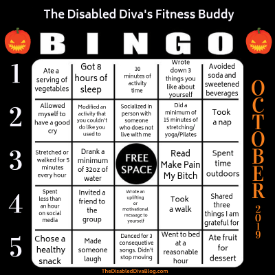 October fitness challenge: Scaring up healthy habits for your body and mind bingo card