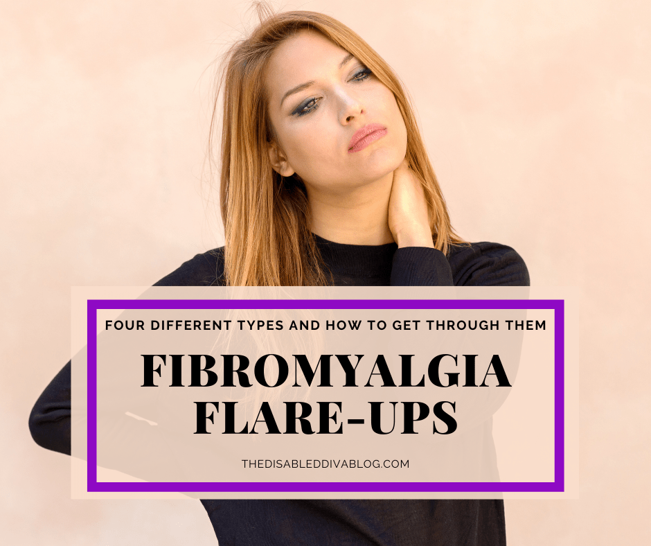 "Pink background with a woman wearing a black shirt and long light brown hair rubbing her neck looking sad with text saying ""Fibromyalgia flare-ups - Four types and how to get through them"""