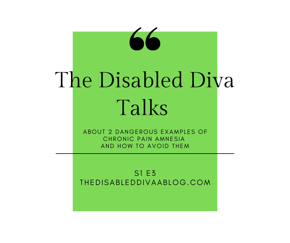 Green box with podcast title The Disabled Diva Talks