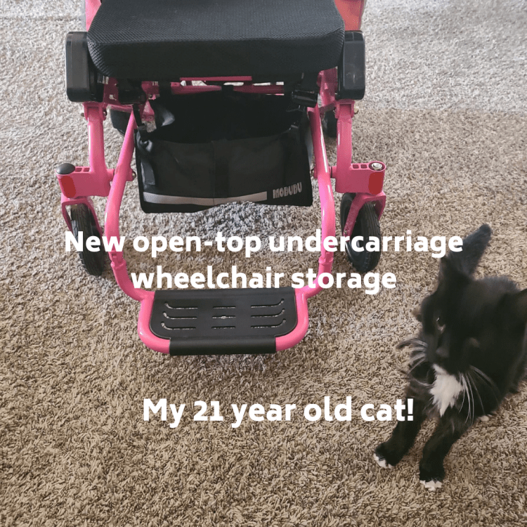 New open top under carriage wheelchair storage