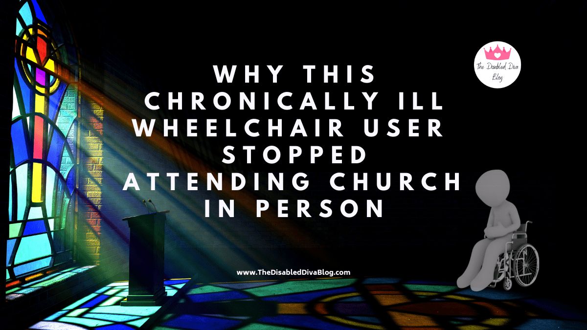 image of a stained glass window, pulpit, and illustrated body sitting in wheelchair