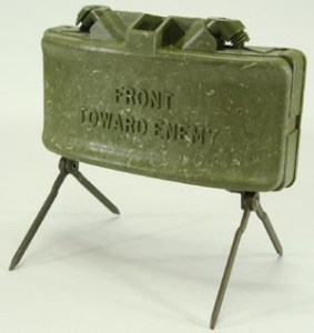 A Claymore anit-personnel mine sprays metal fragments in a broad and directed pattern which is why the instructions on it say to point it toward the enemy.