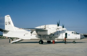 A great part of the United Nations' air force is made up of former Soviet aircraft. This Antonov 32 was under charter to the UN in Somalia in 1992