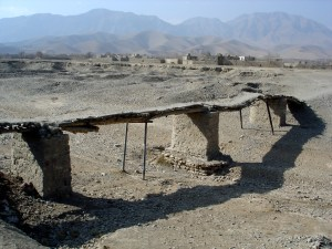 A bridge over the dried out Kabul River in Afghansitan