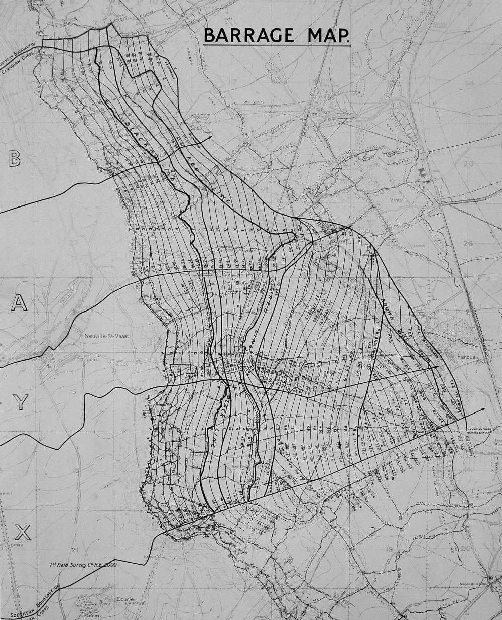 medium resolution of a black and white map showing the area around vimy ridge the map
