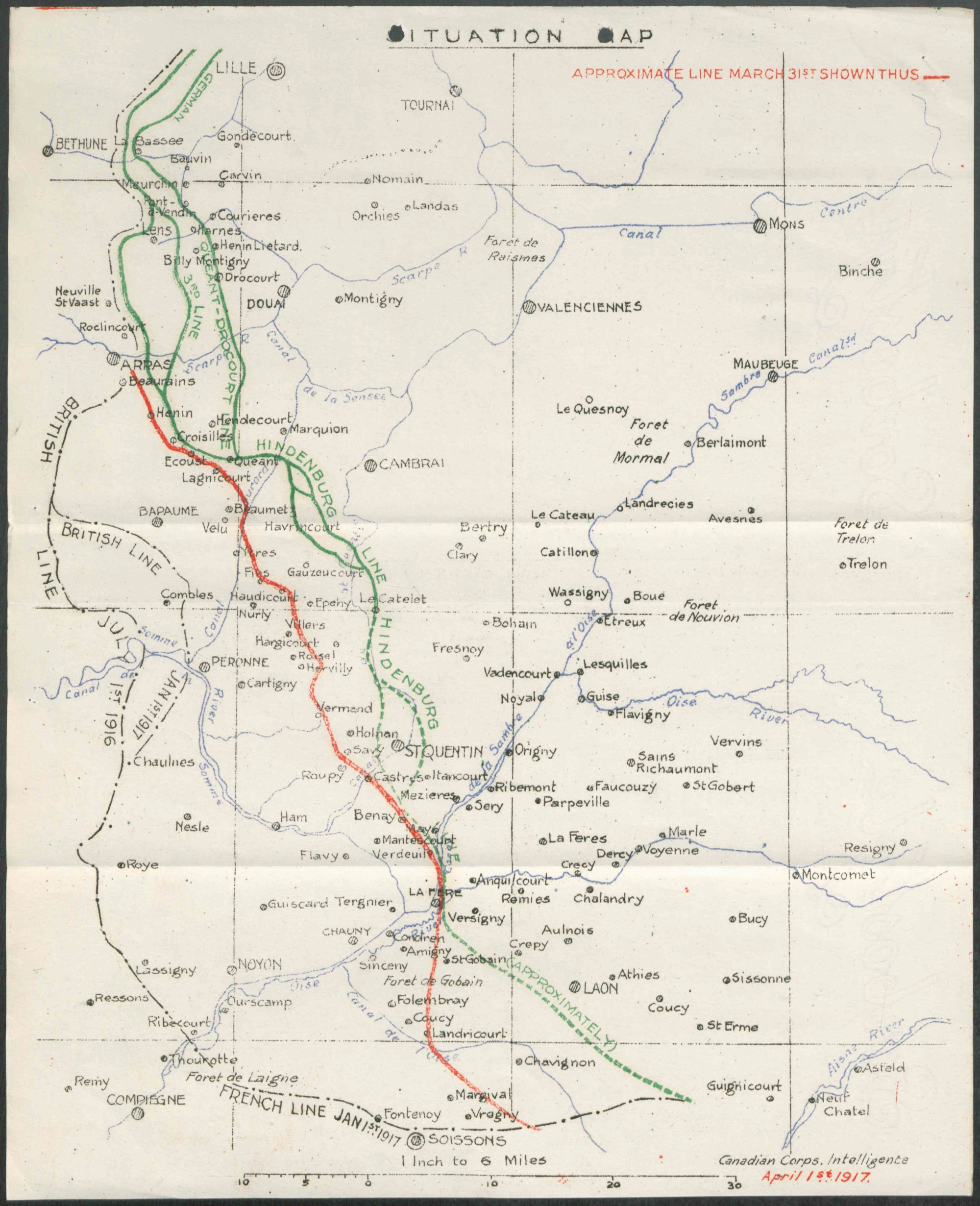 hight resolution of a colour map showing places rivers and the moving lines of defence