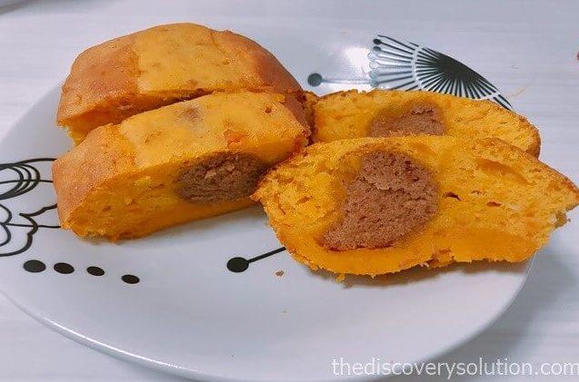 かぼちゃパウンドケーキを切ります