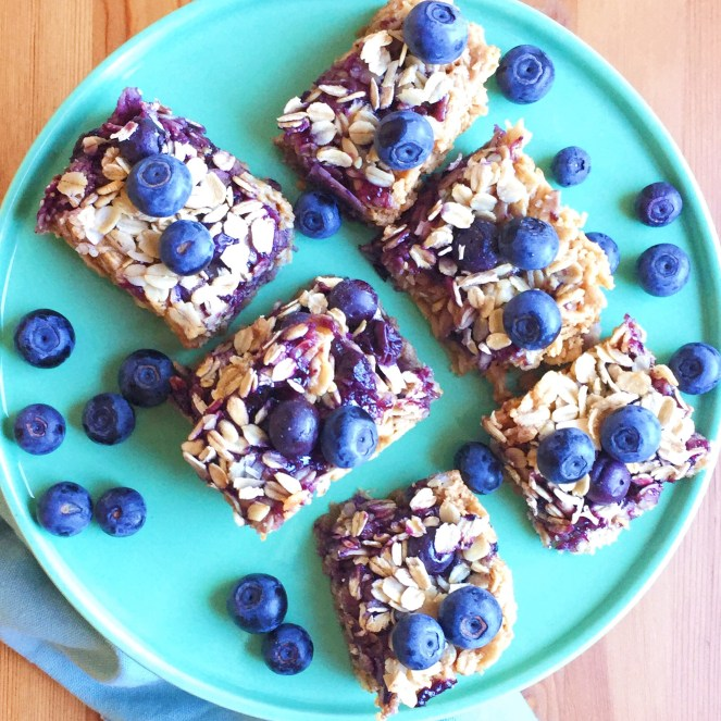 vegan blueberry oat squares