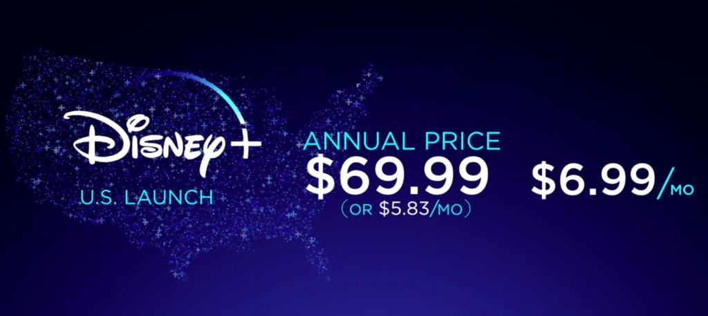 Disney+ will cost $69.99 a year or $6.99 a month