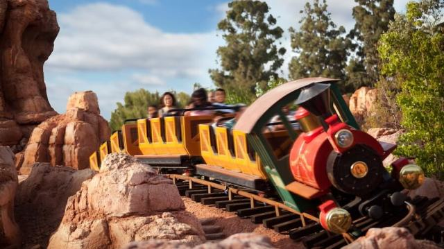 A picture of one of the train cars in Big Thunder Mountain Railroad in Frontier Land at Disneyland