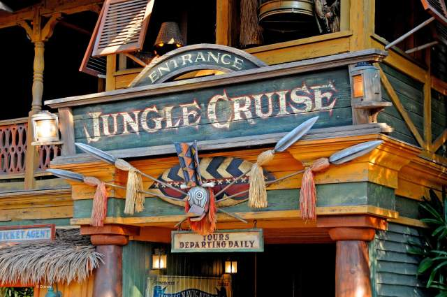 The entrance sign of the Jungle Cruise in Disneyland.