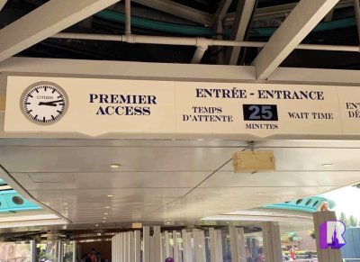 The new Disney Premier Access sign above the entrance to Autopia.   Image Source: DLP Report
