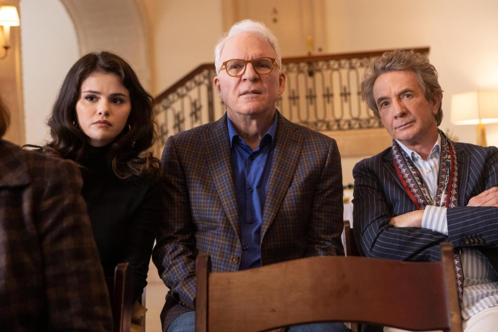 Selena Gomez, Steve Martin and Martin Short attend an important meeting in 'Only Murders in the Building'.