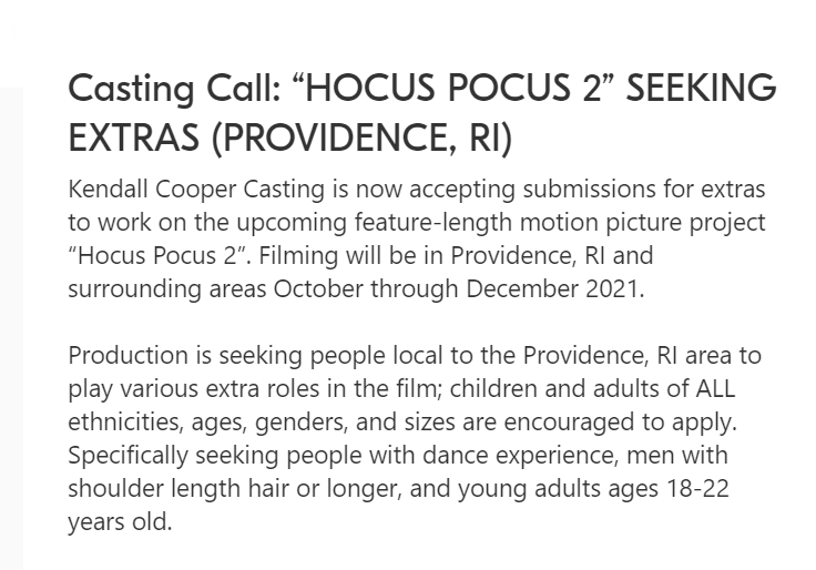 For more information on the casting call, please see below.
