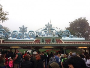 Holiday decorations on the entrance gate to Disneyland.