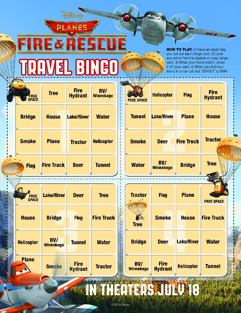 Planes travel bingo