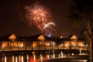 The Bora Bora Bungalows atÊDisney's Polynesian Villas & Bungalows: Fireworks Over Magic Kingdom