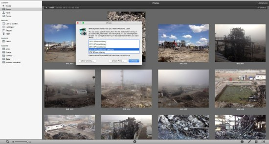 iPhoto allows use of multiple libraries. switching is pretty easy.