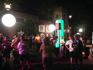 The scavenger hunt takes place in Animal Kingdom. For each clue you walk (or run if you still have the courage) toward a position in the park indicated on your clue card and signaled with huge lighted poles and the number of the clue on it.
