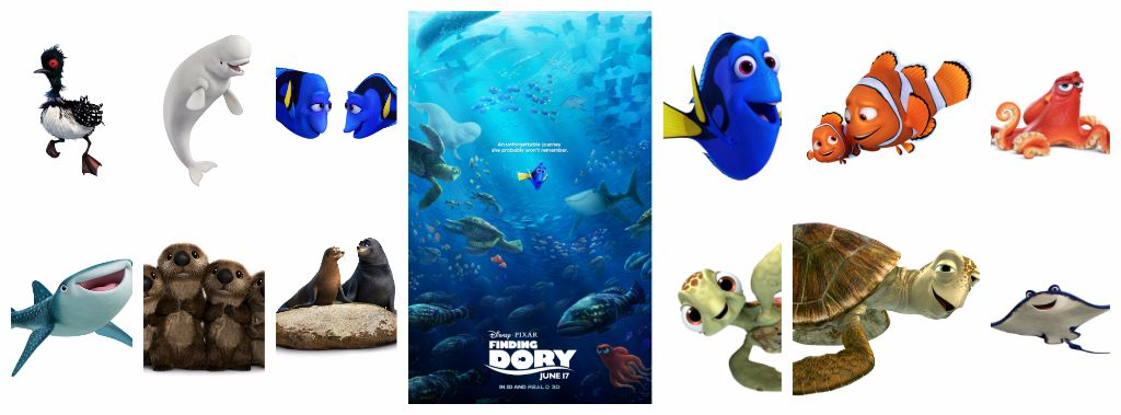 finding dory cast and character announcement. Black Bedroom Furniture Sets. Home Design Ideas