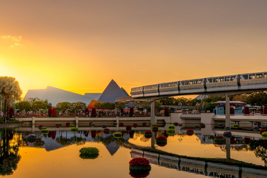 Golden Hour Monorail Reflection Glow