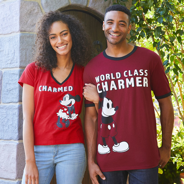 Minnie Mouse Mickey Mouse Charmed V-Neck T-Shirts