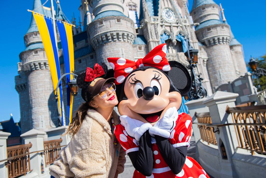 Drew Barrymore Visits with Minnie Mouse at Walt Disney World Res