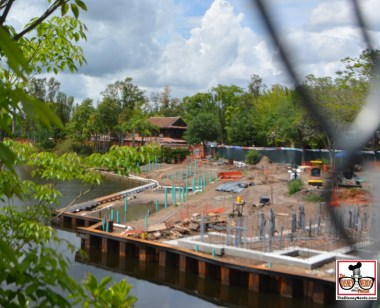 "Construction is in full swing for ""Rivers of Light"" on the Discovery river - Expedition Everest is to the right."