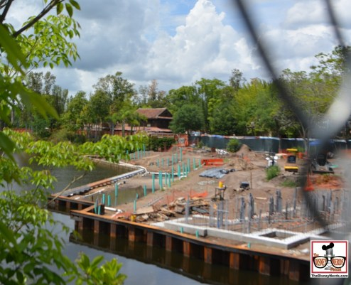 """Construction is in full swing for """"Rivers of Light"""" on the Discovery river - Expedition Everest is to the right."""