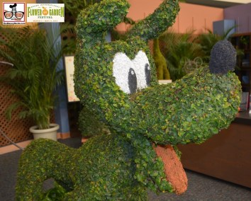Topiary display inside the Festival Center - along with details on how they are made. Epcot International Flower and Garden Festival 2015