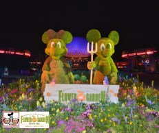 Farmer Mickey and Minnie - All of the Topiaries received special lighting, the Topiaries looked beautiful at night - Monorail passes Daisy Topiary - Epcot International Flower and Garden Festival 2015