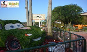 Mater and Lightning McQueen in front of the Cactus Road Rally play area - Epcot International Flower and Garden Festival 2015