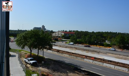 """A look at the """"Bus"""" lane on resort boulevard from the parking garage."""