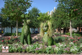 Lady and the Tramp Topiary's from Flower and Garden provide a photo opp near T-Rex