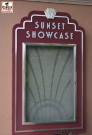The Sunset Showcase is ready to open any day... this is hanging near the rock and roller coaster