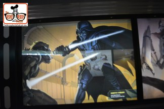 2015-12 - Hollywood Studios -Star Wars Posters cover the queue - the posters cover everything in the star wars universe. - original concept art