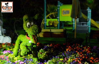 DNP April 2016 Photo Report: Epcot Flower and Garden Festival.. Topiary's at night in the Harmony Garden Playground