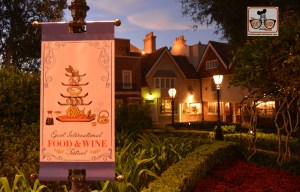 A view of the UK and Epcot International Food and Wine Festival Banner