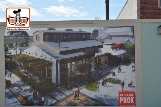 Wolfgang Puck Bar & Grill construction concept art - the building to the right is the World of Coke