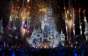 """Colorful fanfare and stunning holiday lights envelop Cinderella Castle at Magic Kingdom Park in Lake Buena Vista, Fla., Sunday, Nov. 5, 2017, during a taping for """"The Wonderful World of Disney: Magical Holiday Celebration.Ó The exciting two-hour ABC special from Walt Disney World Resort and Disneyland Resort premieres Thursday, November 30, 9Ð11p.m. ET, on The ABC Television Network. (Todd Anderson, photographer)"""
