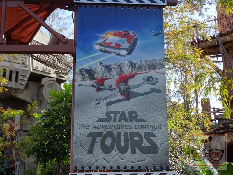 With the Crait debuted in Star Tours three weeks ago, the banners outside of Star Tours attraction are now changed from Jakku to Crait. A colorful addition and taste of what guests can expect on their travel aboard the Starspeeder 1000.