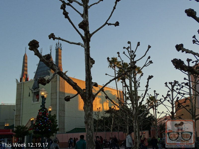 Take note of those lamp posts at the steps to the right of the Chinese Theater. The Park has just added new Christmas decorations. In this same area you will have an even better view of the night time fireworks since many of the landscape trees have lost their leaves for the winter.