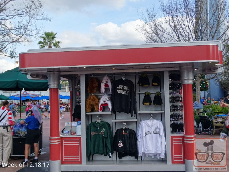 Some more progress on the construction walls around the exit of the former Great Movie Ride…now boasting a darker paint color. The makeshift store next door now markets a selection of Last Jedi apparel. You will find that right attire to wear at the theatre if you have yet to see the film.